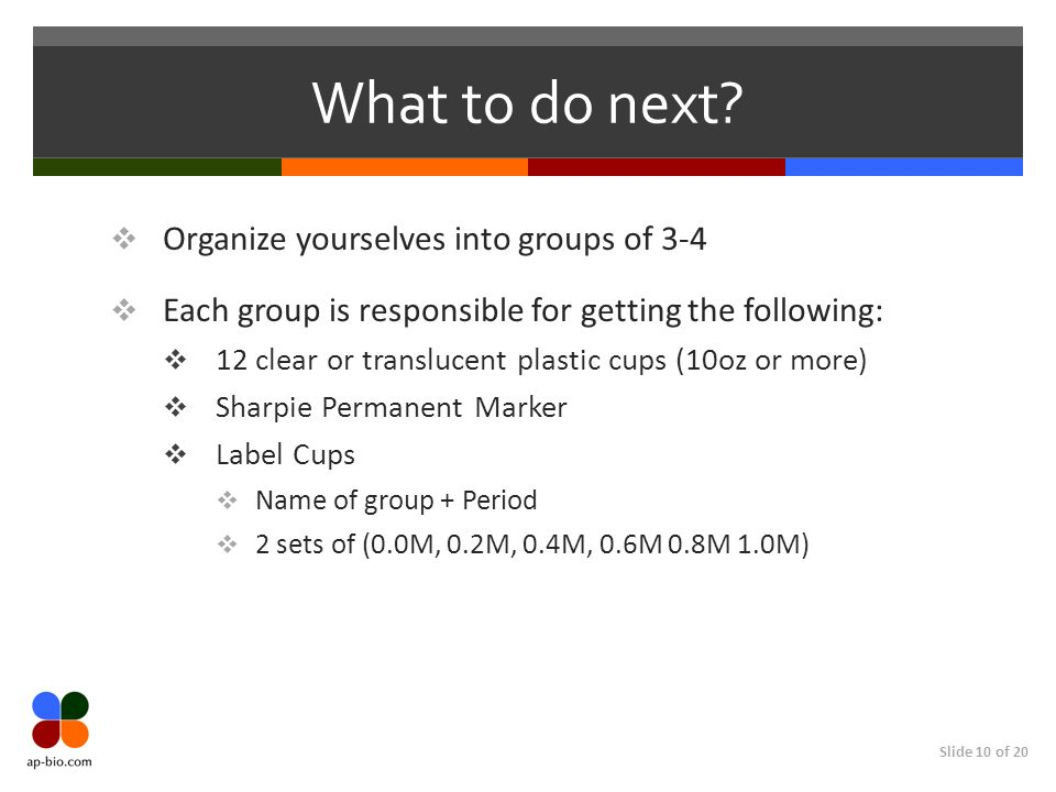 What to do next Organize yourselves into groups of 3-4