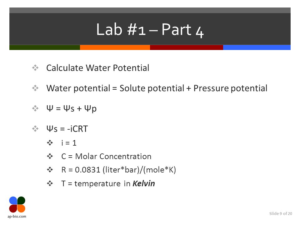 Lab #1 – Part 4 Calculate Water Potential