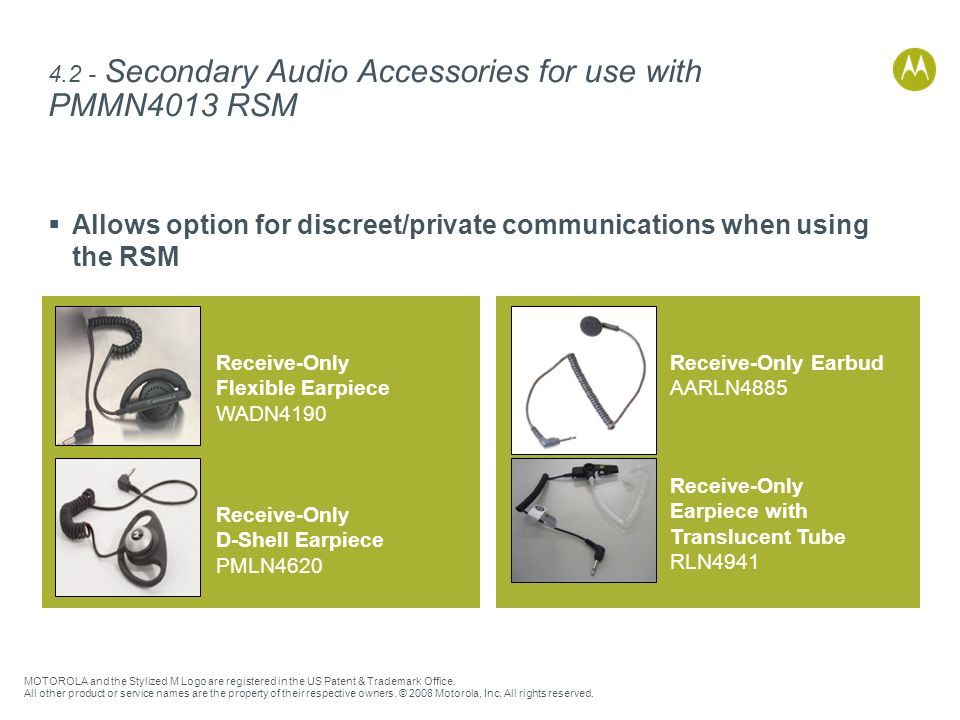 4.2 - Secondary Audio Accessories for use with PMMN4013 RSM