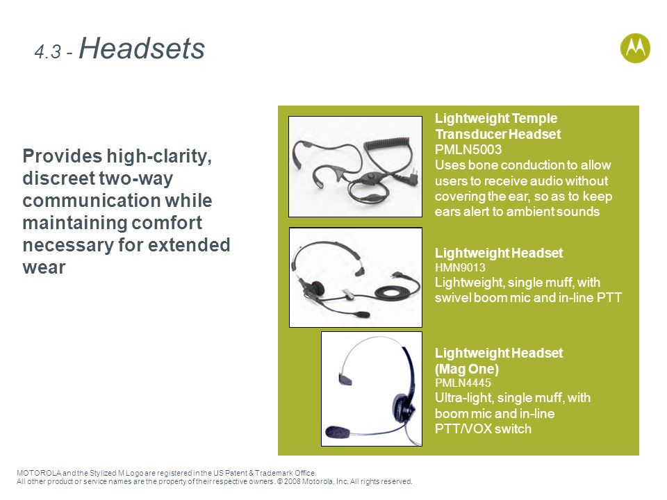4.3 - Headsets Lightweight Temple. Transducer Headset.