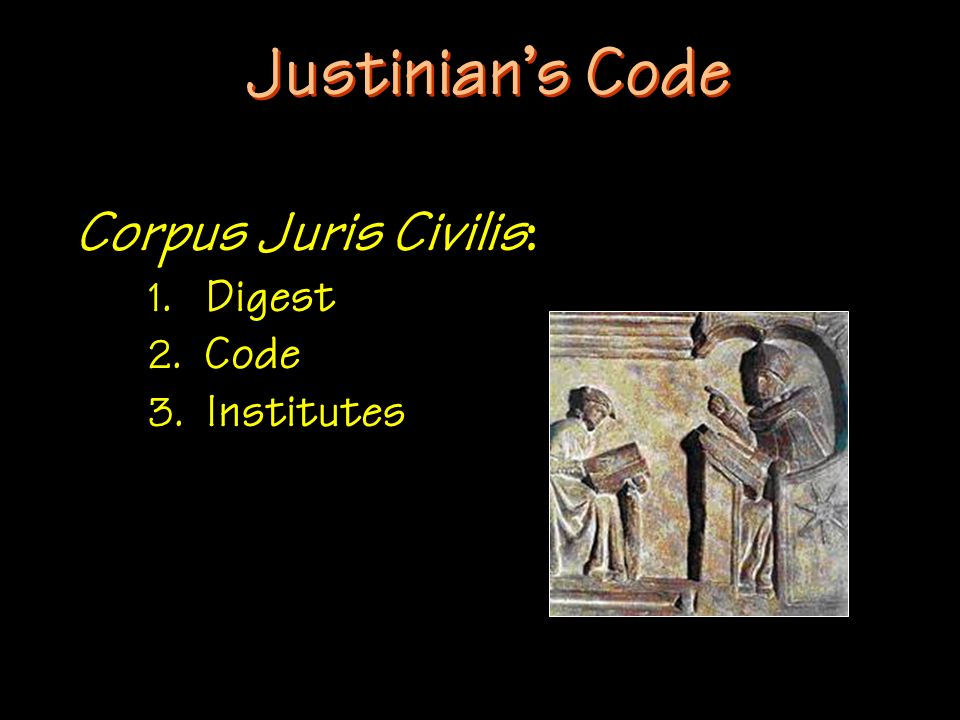 Justinian's Code Corpus Juris Civilis: 1. Digest 2. Code 3. Institutes