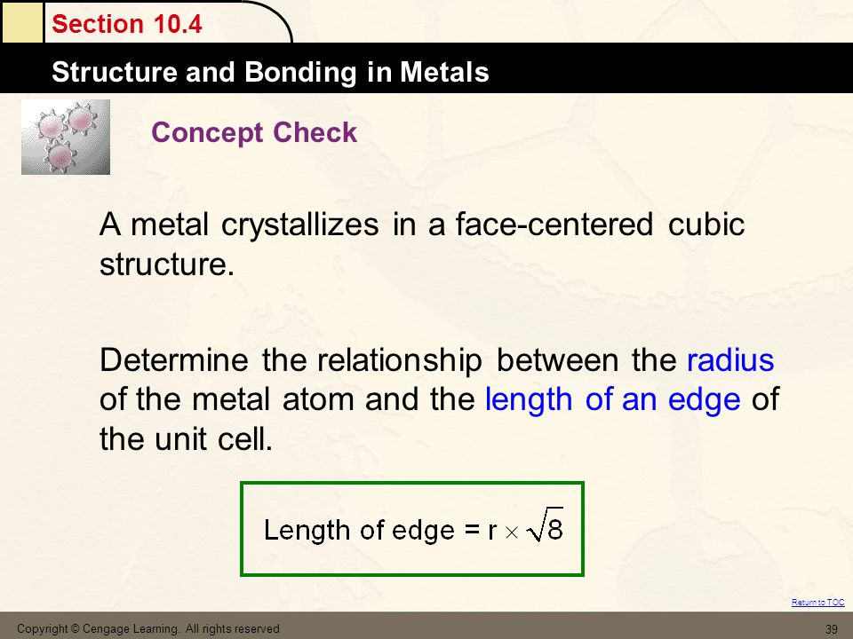 A metal crystallizes in a face-centered cubic structure.