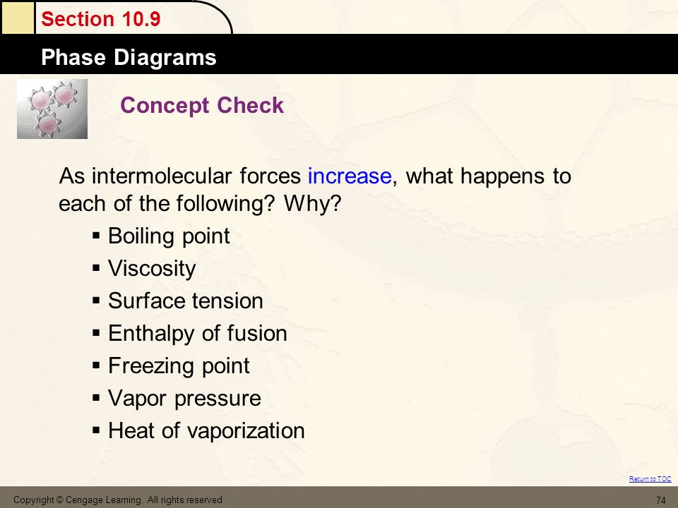 Concept Check As intermolecular forces increase, what happens to each of the following Why Boiling point.