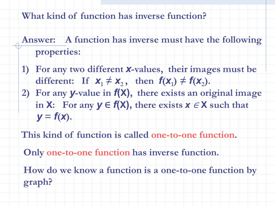 What kind of function has inverse function