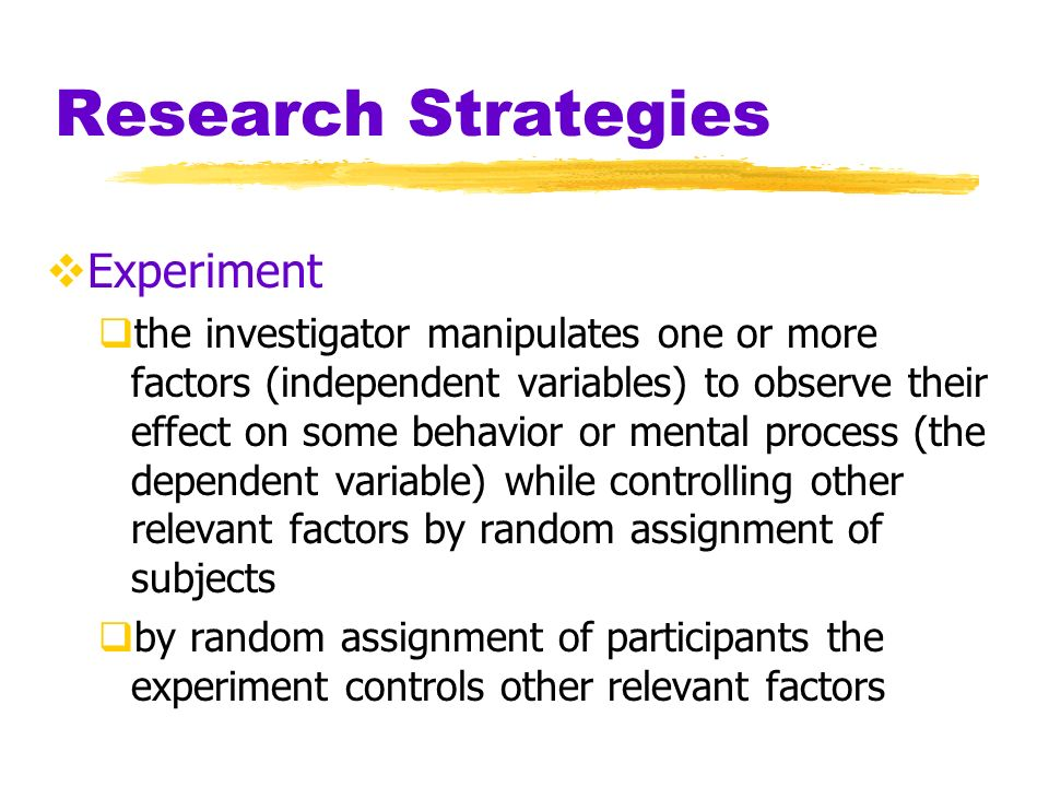 Research Strategies Experiment