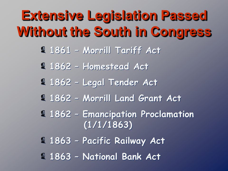 Extensive Legislation Passed Without the South in Congress