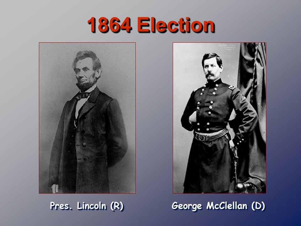 1864 Election Pres. Lincoln (R) George McClellan (D)