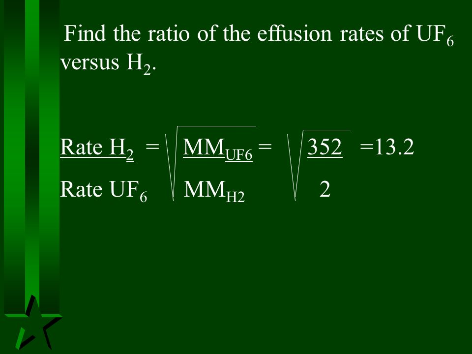 Rate H2 = MMUF6 = 352 =13.2 Rate UF6 MMH2 2