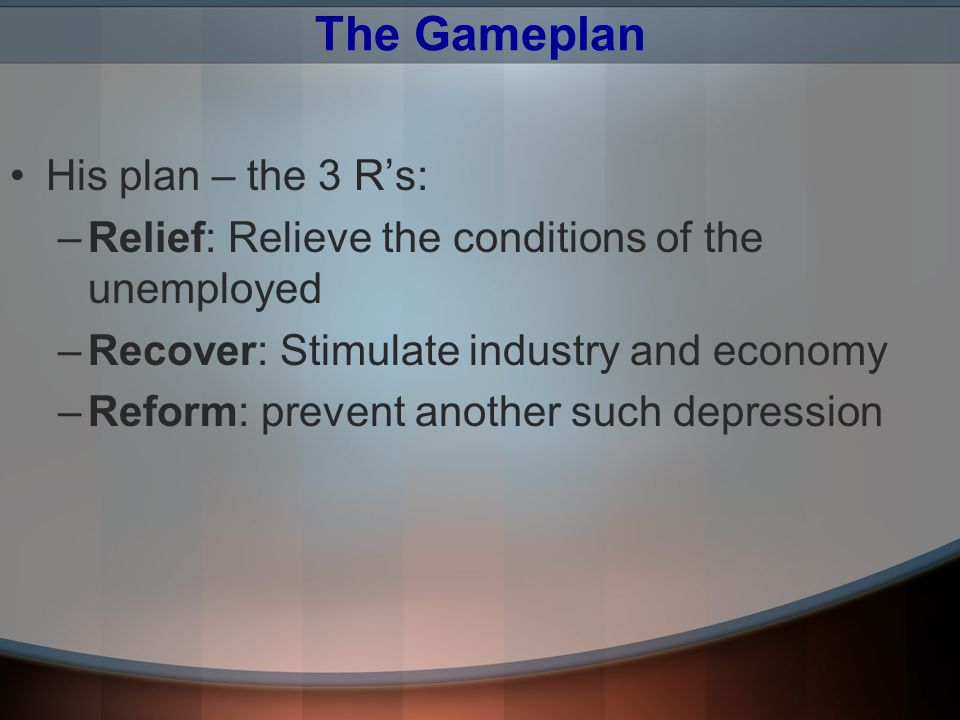 The Gameplan His plan – the 3 R's: