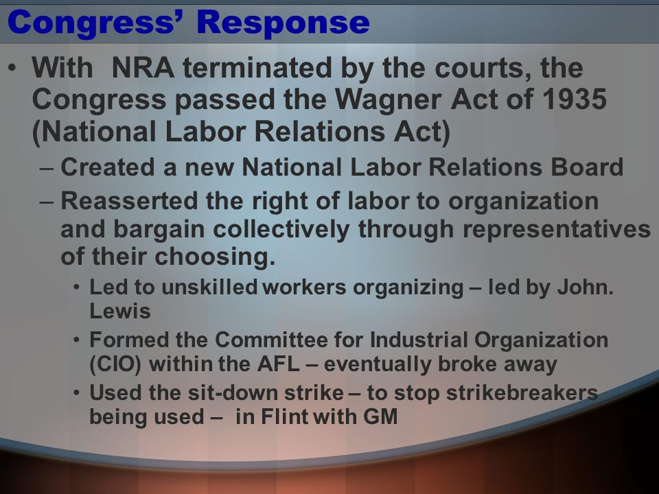 Congress' Response With NRA terminated by the courts, the Congress passed the Wagner Act of 1935 (National Labor Relations Act)