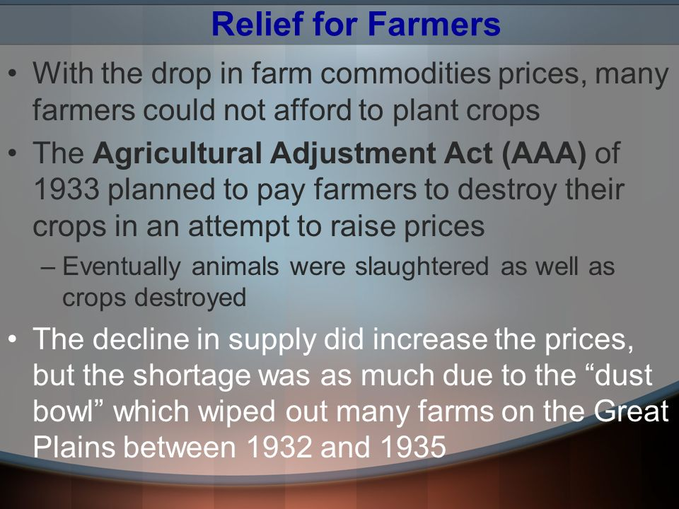Relief for Farmers With the drop in farm commodities prices, many farmers could not afford to plant crops.