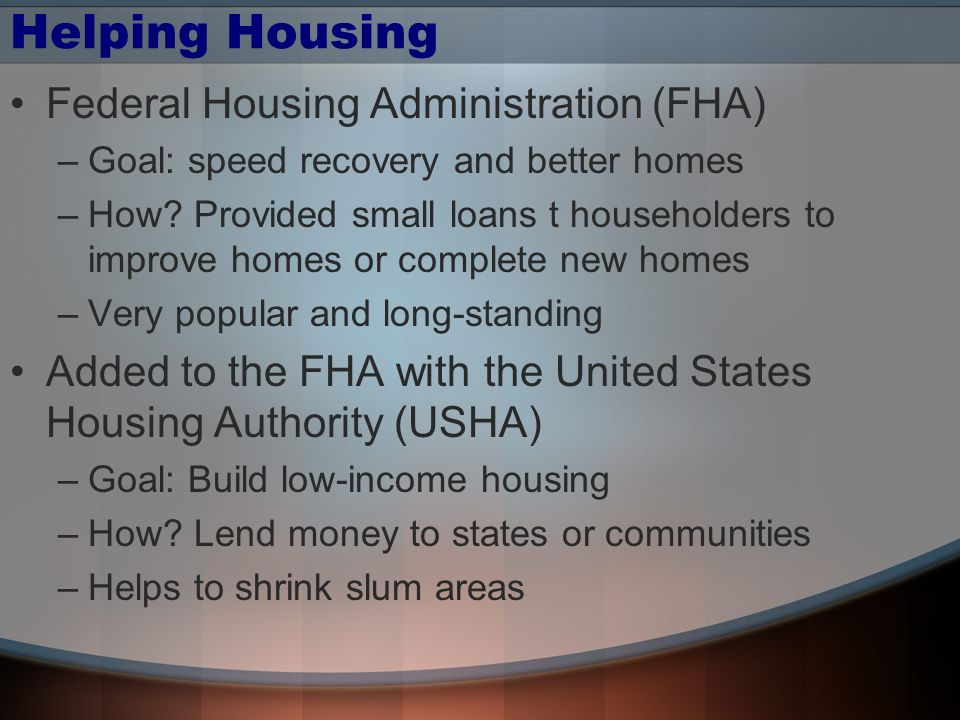 Helping Housing Federal Housing Administration (FHA)