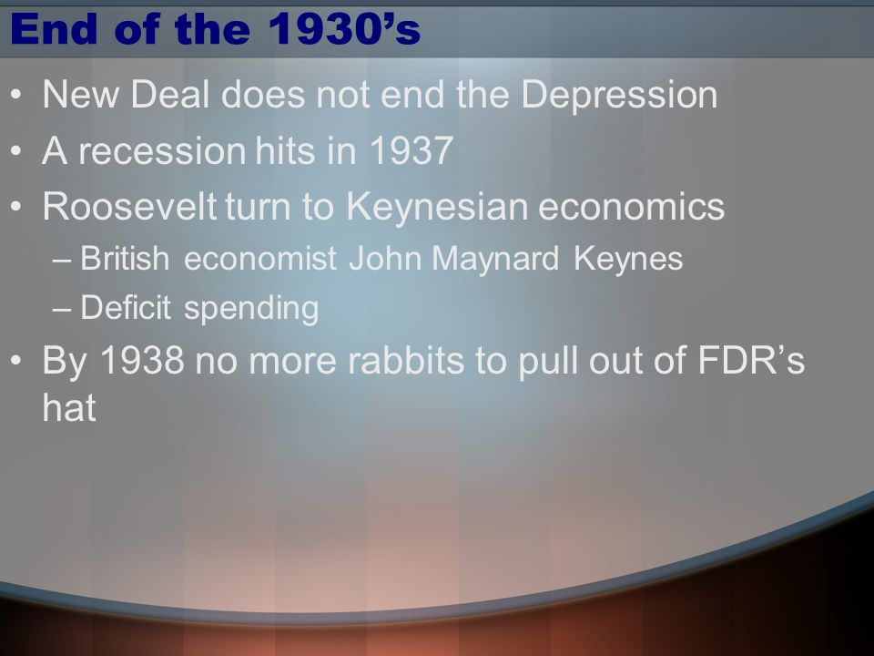 End of the 1930's New Deal does not end the Depression