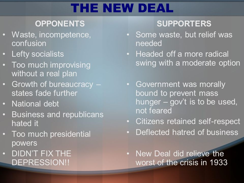 THE NEW DEAL OPPONENTS Waste, incompetence, confusion Lefty socialists