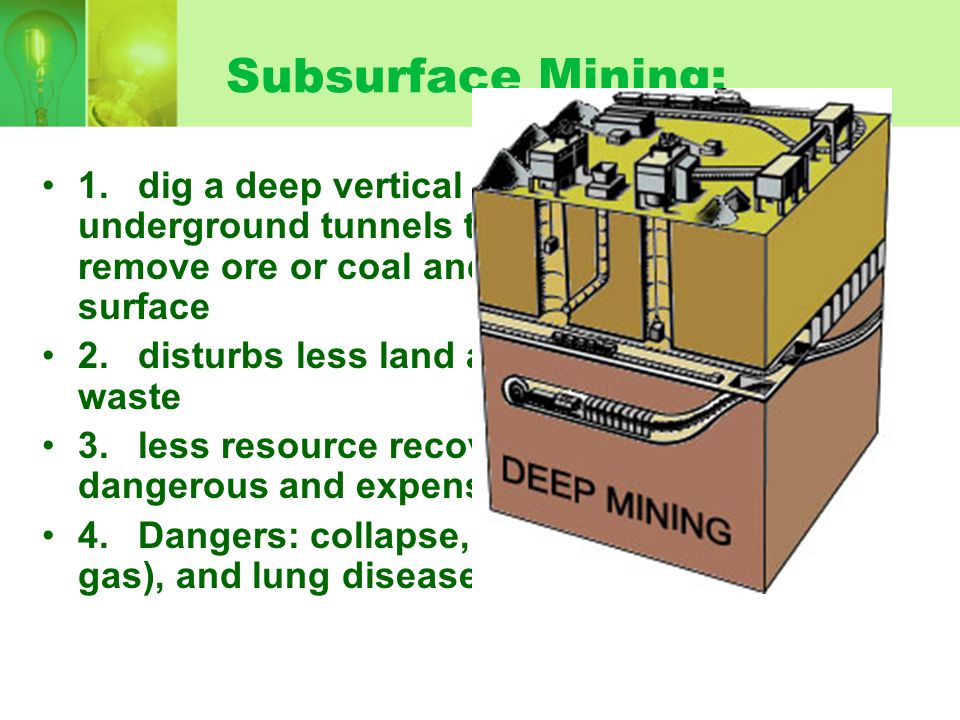 Subsurface Mining: 1. dig a deep vertical shaft, blast underground tunnels to get mineral deposit, remove ore or coal and transport to surface