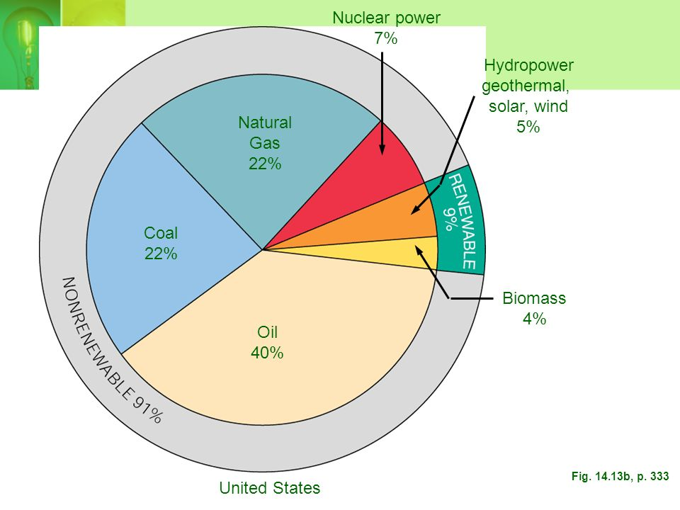 Nuclear power 7% Hydropower geothermal, solar, wind 5% Natural Gas 22%