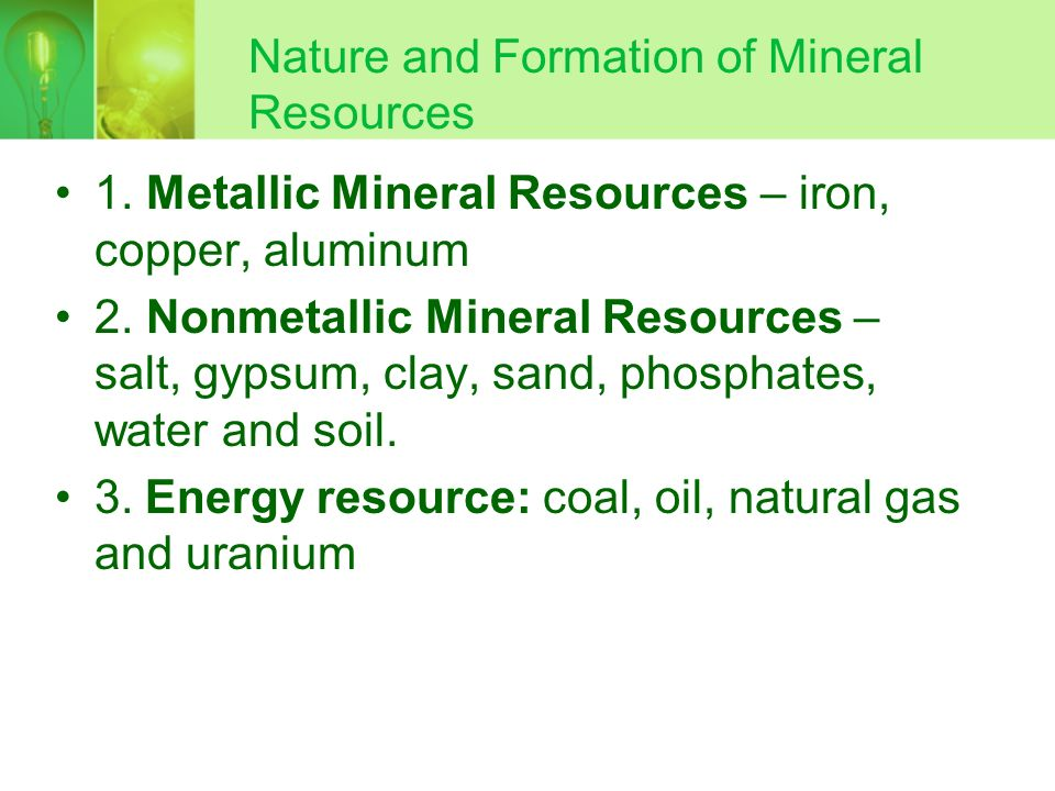 Nature and Formation of Mineral Resources