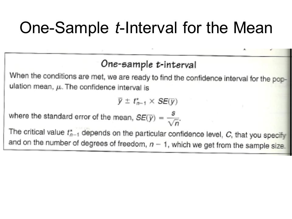 One-Sample t-Interval for the Mean
