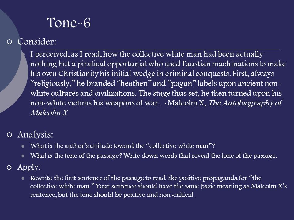 Tone-6 Consider: Analysis: Apply:
