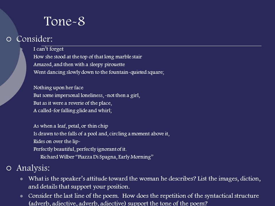 Tone-8 Consider: Analysis: Apply: