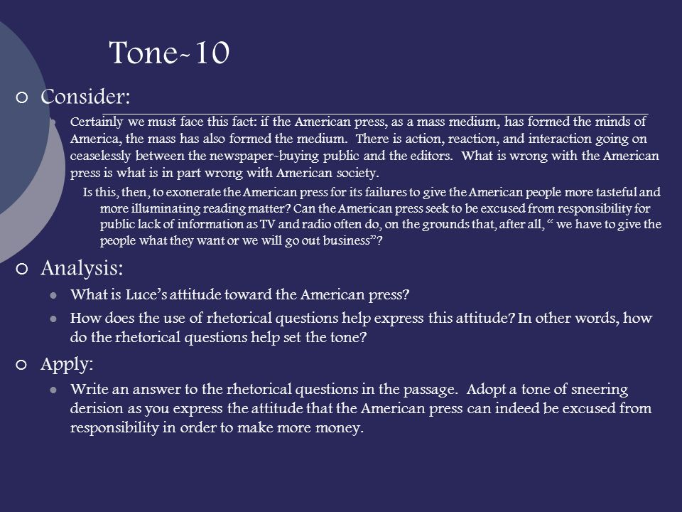 Tone-10 Consider: Analysis: Apply: