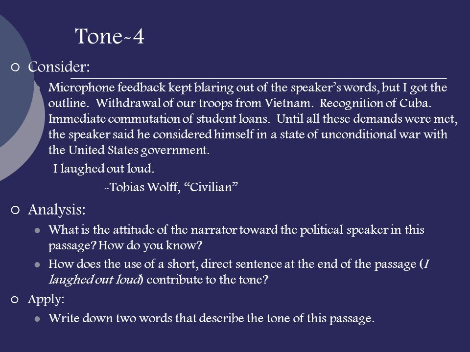 Tone-4 Consider: Analysis: Apply: