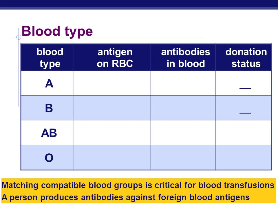 Blood type A B AB O blood type antigen on RBC antibodies in blood