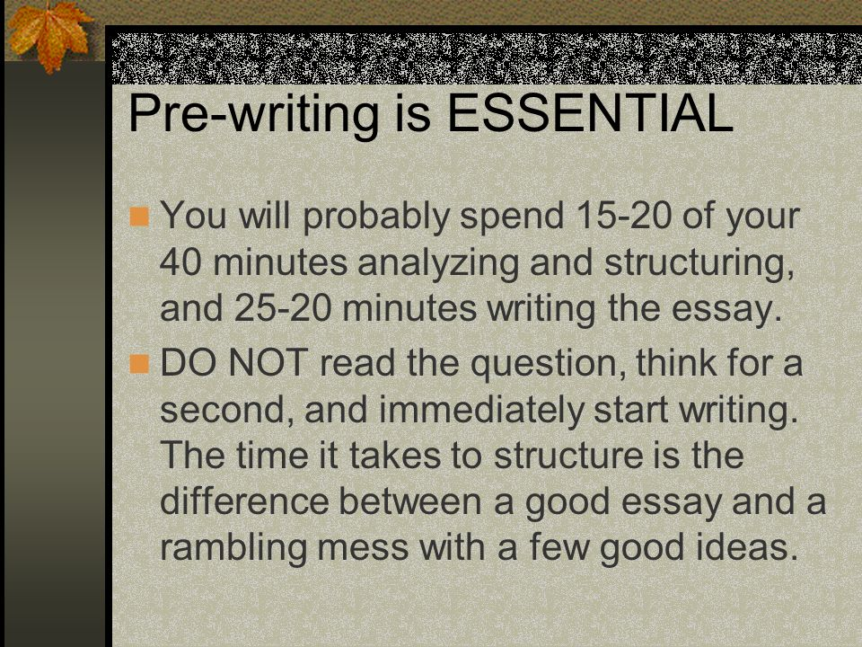 Pre-writing is ESSENTIAL