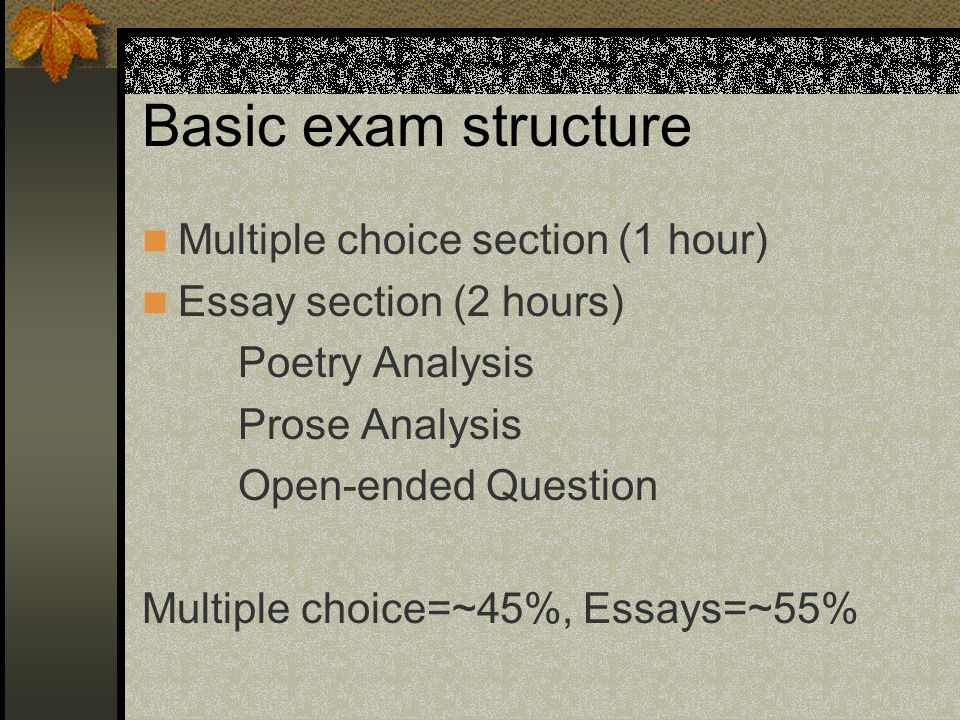 Basic exam structure Multiple choice section (1 hour)