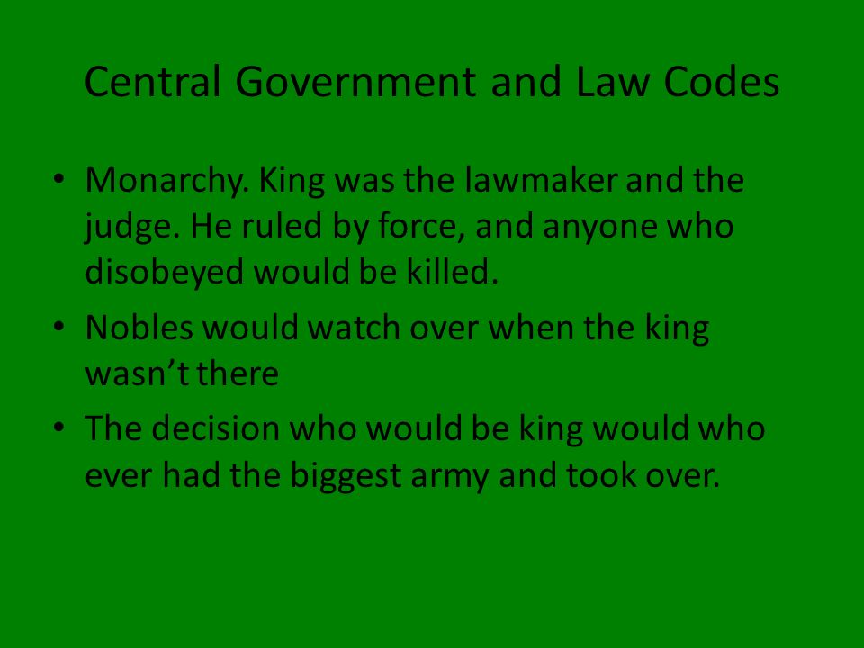 Central Government and Law Codes