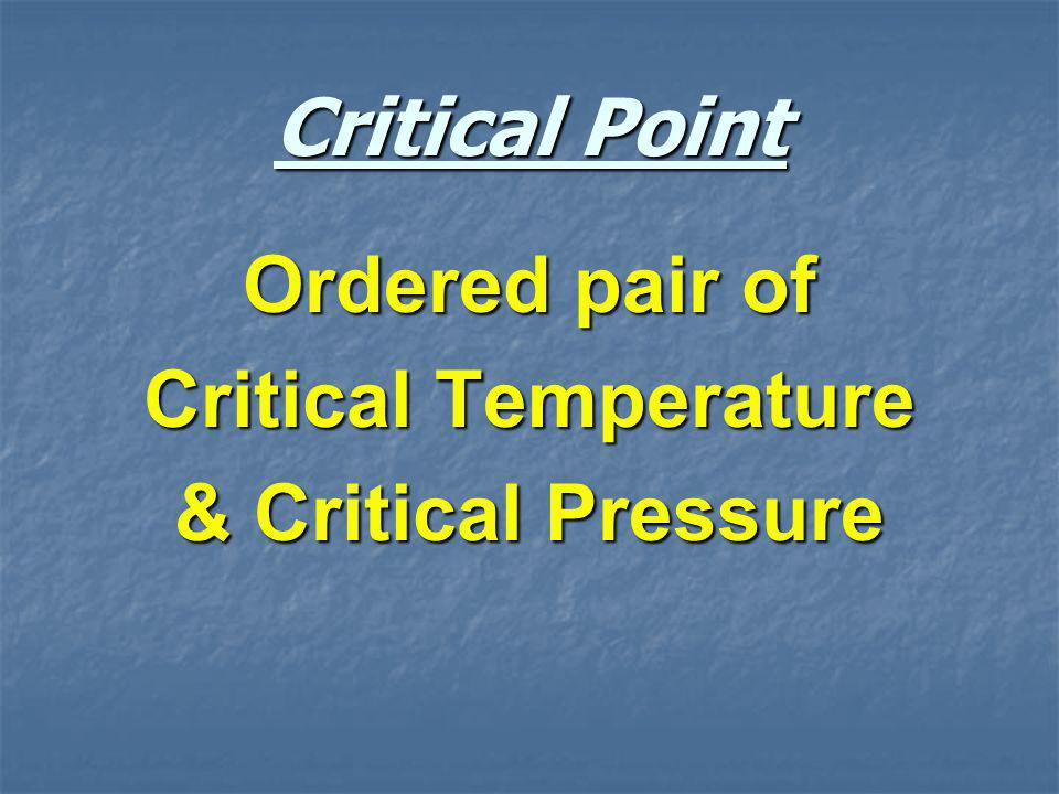 Critical Point Ordered pair of Critical Temperature & Critical Pressure