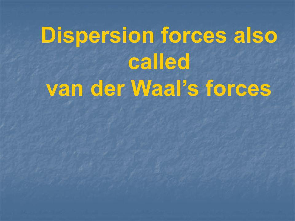 Dispersion forces also called