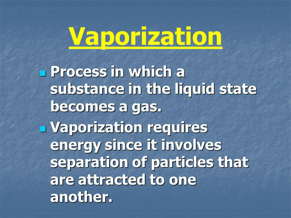 Vaporization Process in which a substance in the liquid state becomes a gas.