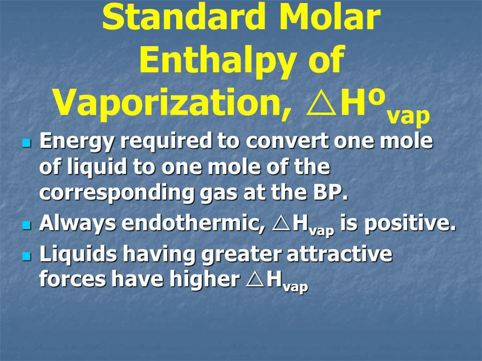 Standard Molar Enthalpy of Vaporization, Hºvap