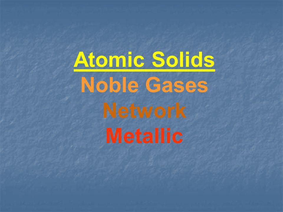 Atomic Solids Noble Gases Network Metallic