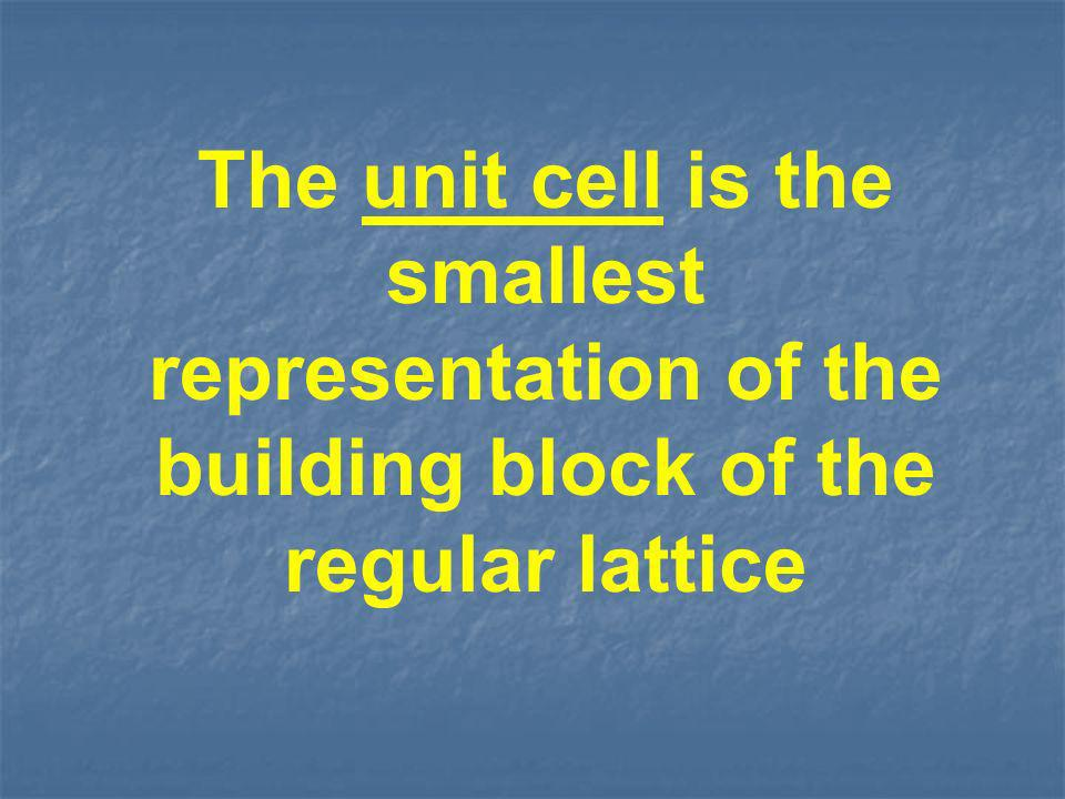 The unit cell is the smallest representation of the building block of the regular lattice