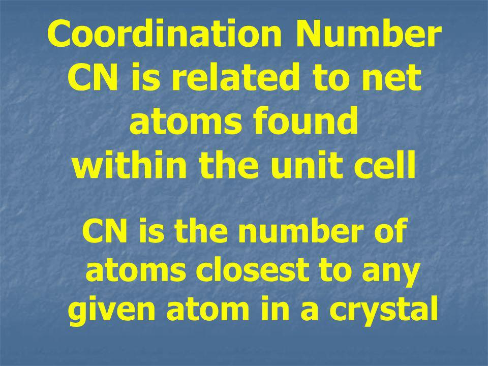 CN is the number of atoms closest to any given atom in a crystal