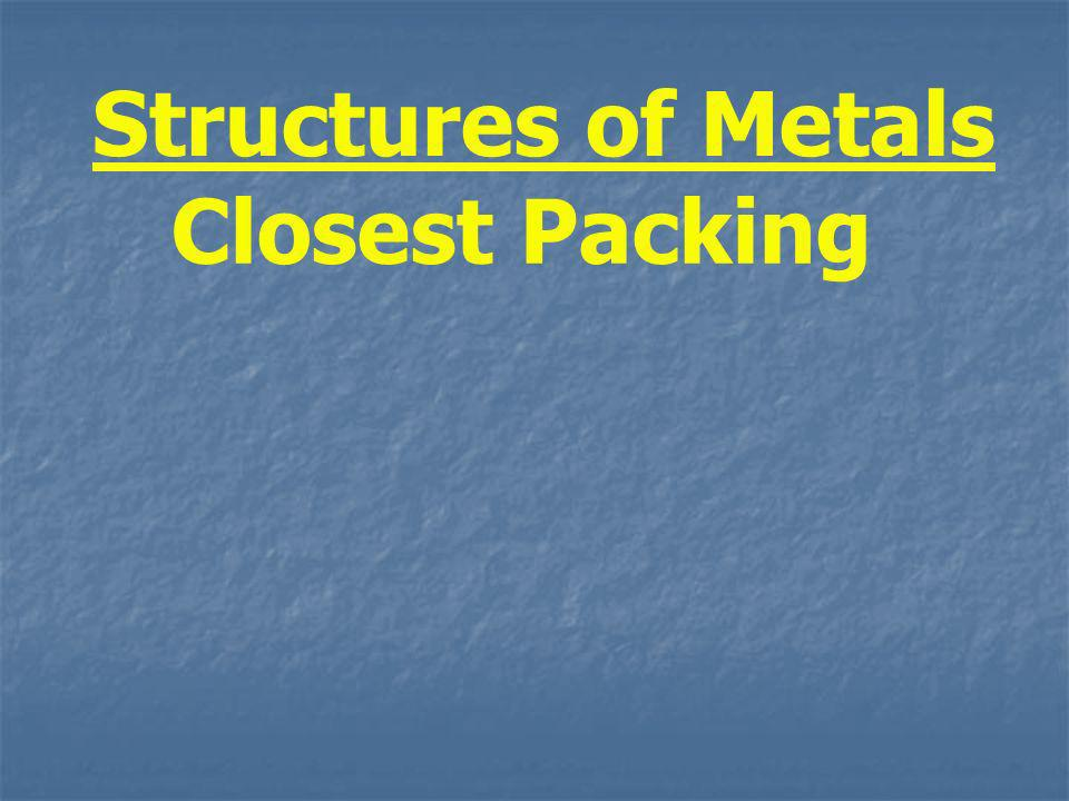 Structures of Metals Closest Packing