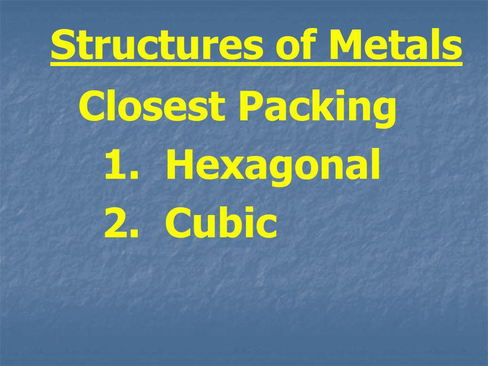 Structures of Metals Closest Packing 1. Hexagonal 2. Cubic