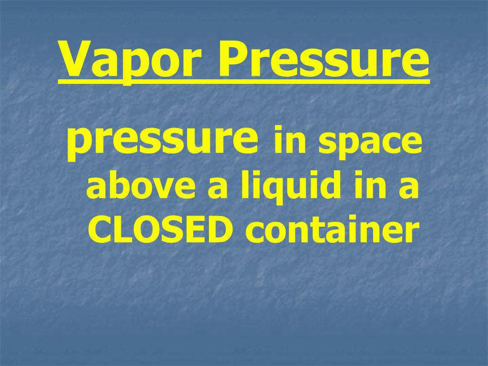 pressure in space above a liquid in a CLOSED container