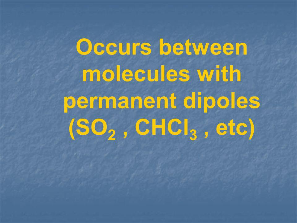 Occurs between molecules with permanent dipoles (SO2 , CHCl3 , etc)