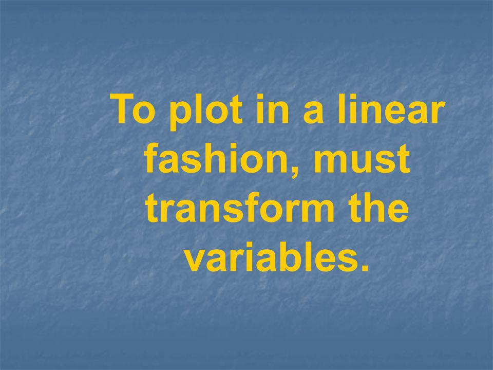To plot in a linear fashion, must transform the variables.