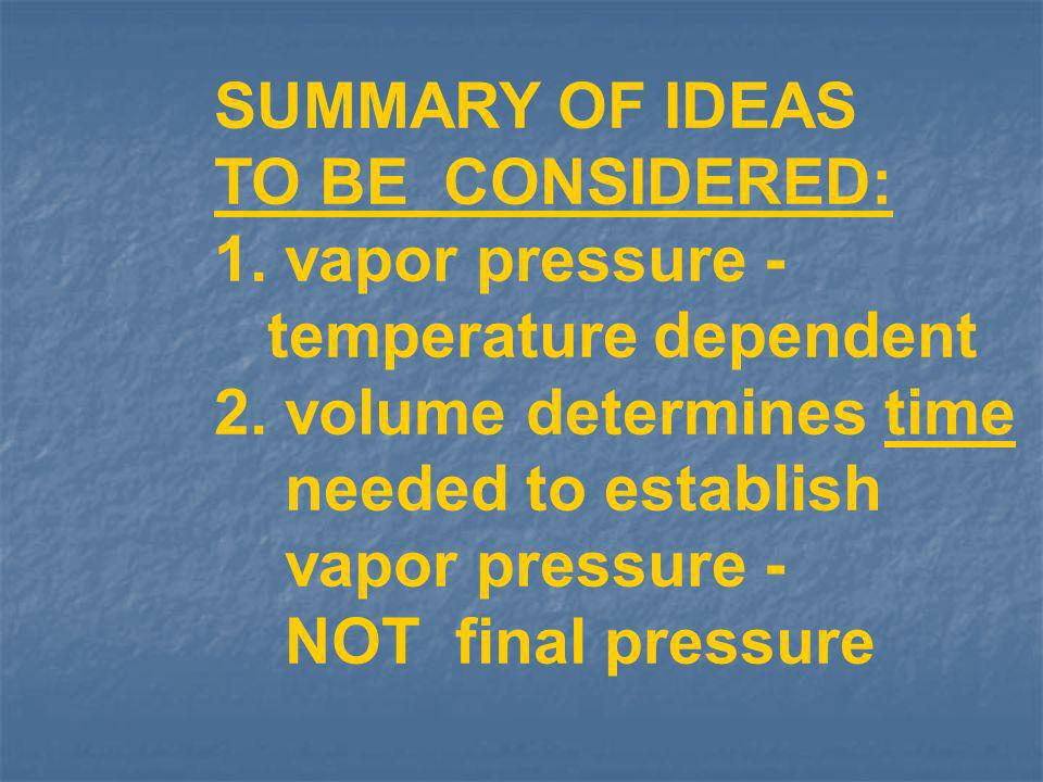 SUMMARY OF IDEAS TO BE CONSIDERED: 1. vapor pressure - temperature dependent. 2. volume determines time.