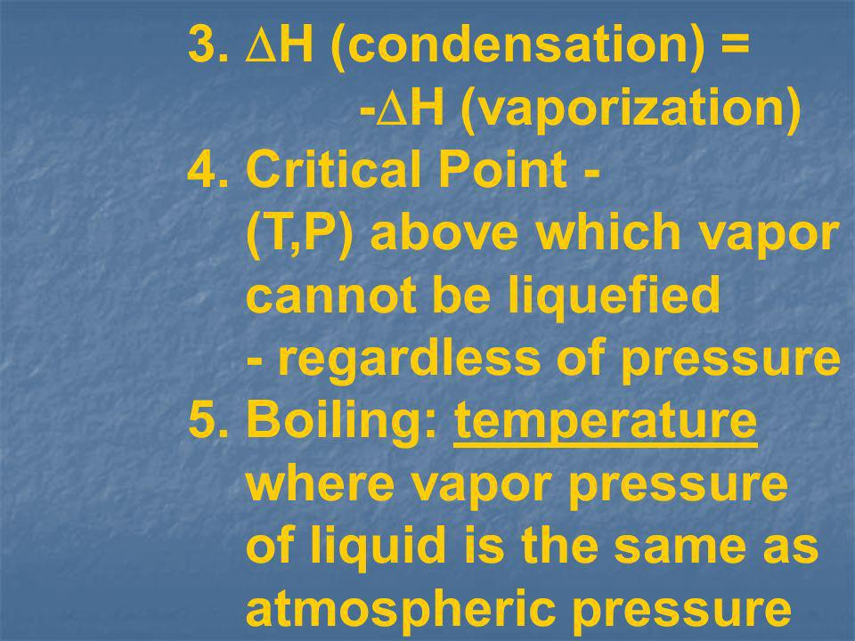 3. H (condensation) = -H (vaporization) 4. Critical Point - (T,P) above which vapor. cannot be liquefied.