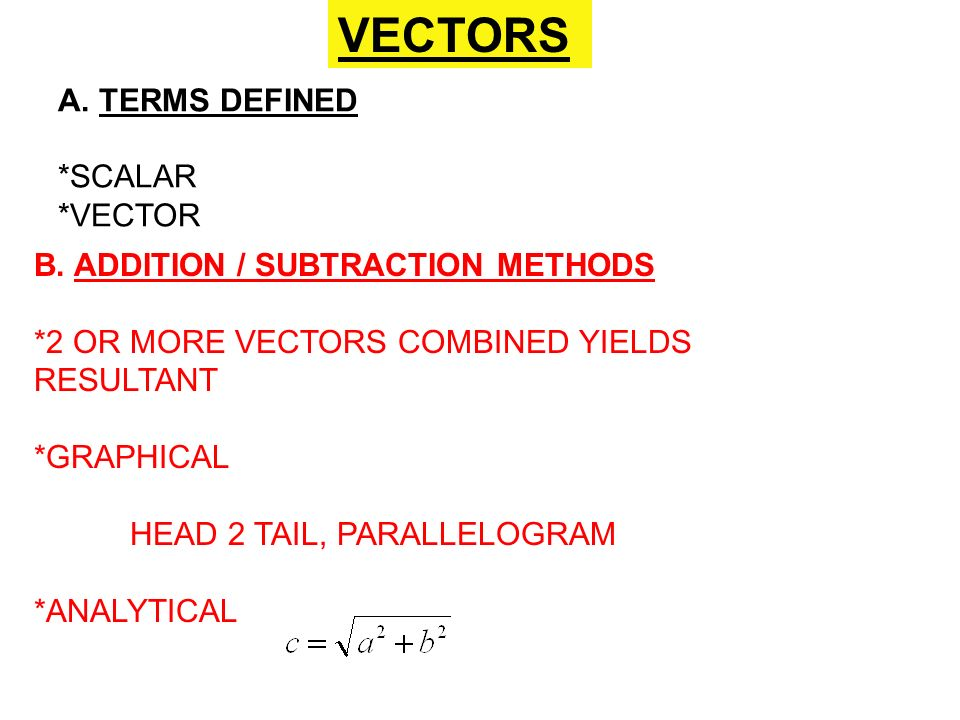 VECTORS A. TERMS DEFINED *SCALAR *VECTOR