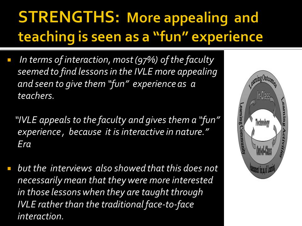 STRENGTHS: More appealing and teaching is seen as a fun experience
