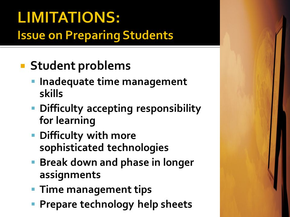 LIMITATIONS: Issue on Preparing Students