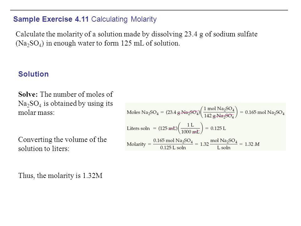 Sample Exercise 4.11 Calculating Molarity