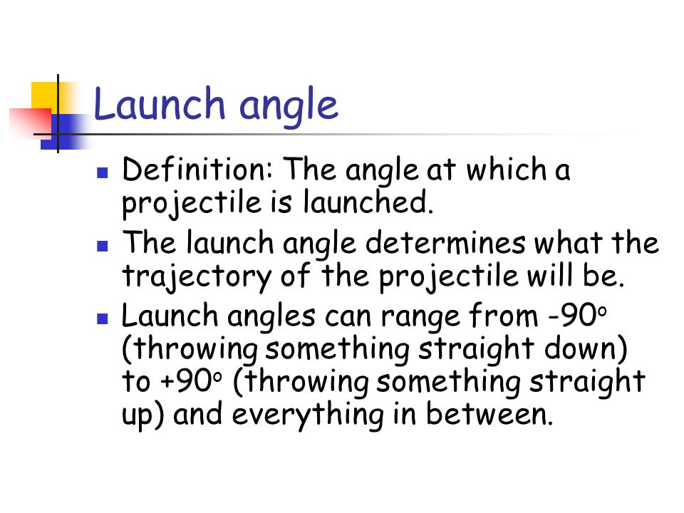 Launch angle Definition: The angle at which a projectile is launched.