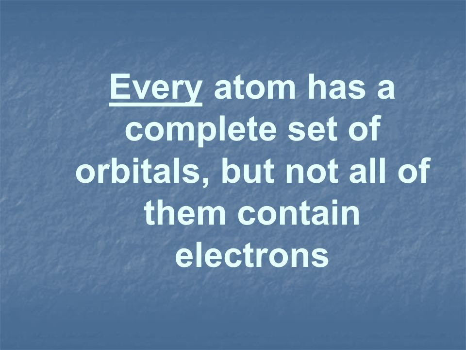 Every atom has a complete set of orbitals, but not all of them contain electrons